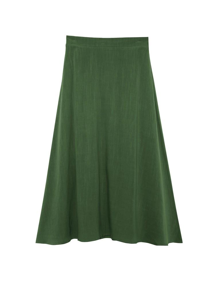 リネンブレンドトラペーズ風ロングスカート