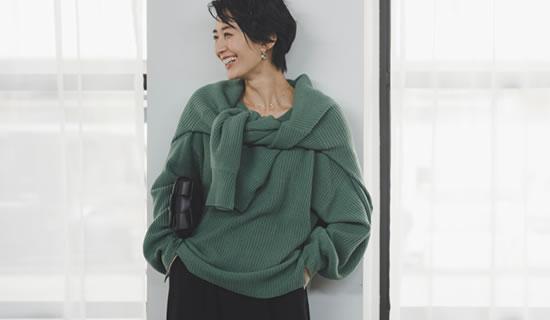 [神山まりあさん着用][お家で洗える]選べるVネックorタートルネックぽわん袖畦編みニットトップス