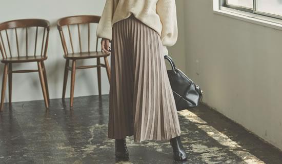 132269_[星玲奈さん着用][低身長向けSサイズ対応]ソフトニットプリーツロングスカート