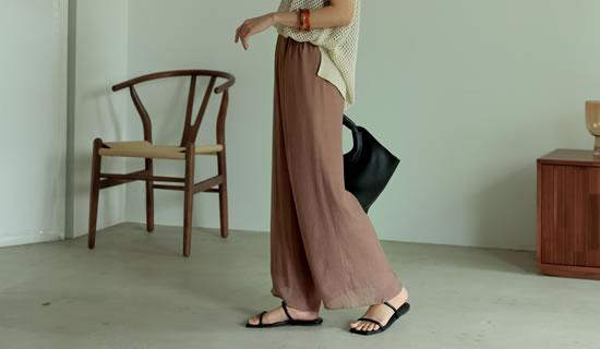 [低身長サイズ有]スラブ楊柳ドロストセミワイドストレートパンツ
