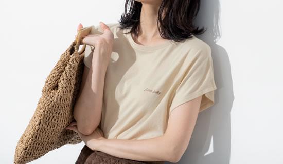 133264_[UVカット][抗菌防臭][お家で洗える]フレンチスリーブフロントロゴTシャツ
