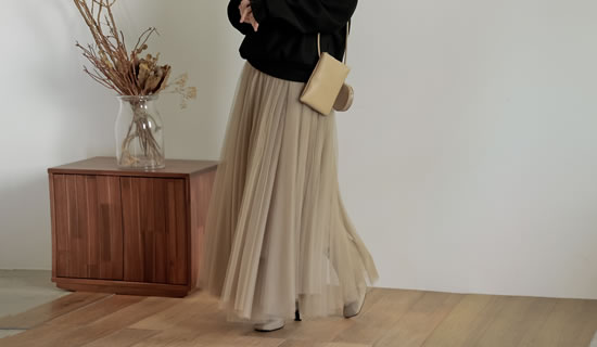 [低身長/高身長サイズ有]チュールロングスカート