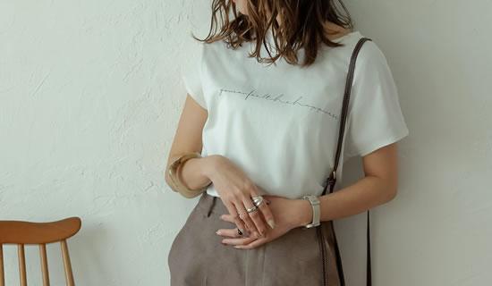オーガニックコットンフレンチスリーブロゴTシャツ