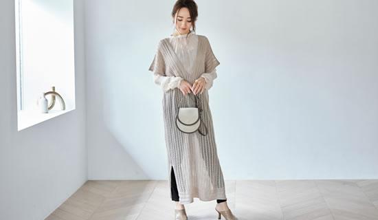 透かし編みがセンシュアルなノースリーブワンピース