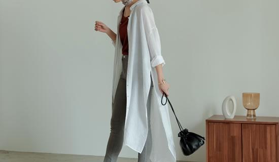[飯豊まりえさん着用][低身長サイズ有]サイドスリット楊柳シアーシャツワンピース