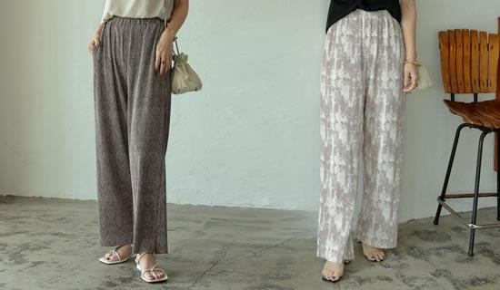[飯豊まりえさん着用][低身長/高身長サイズ有]総柄マットプリーツストレートパンツ