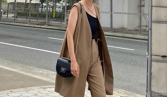 [飯豊まりえさん着用][低身長サイズ有]ストレッチツイルノースリーブジャケット