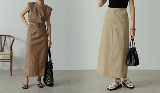 [低身長サイズ有]ストレッチコットンハイウエストIラインスカート