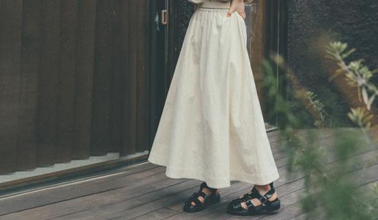 [飯豊まりえさん着用][低身長/高身長サイズ有]ストレッチコットンロングフレアスカート