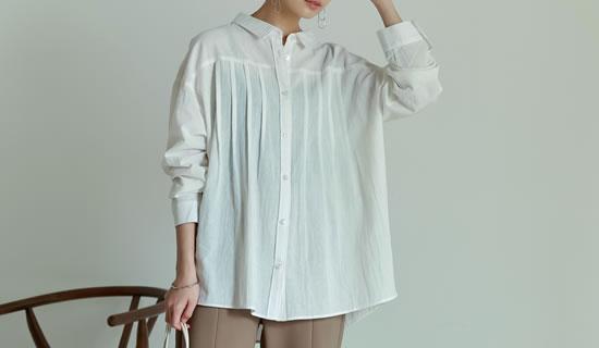 タックプリーツデザインシャツ