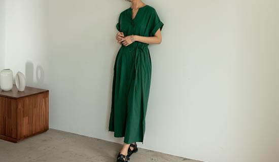 [低身長サイズ有]3WAYリネンブレンドキーネックシャツワンピース