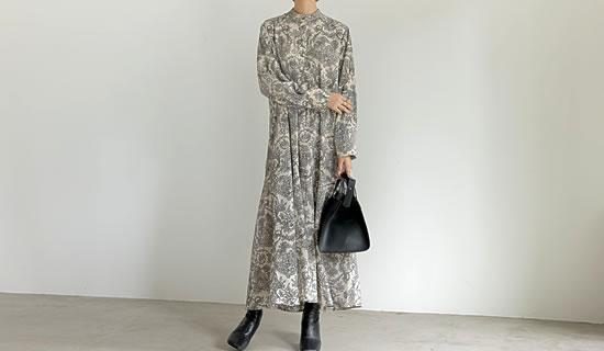 [低身長サイズ有]ヴィンテージサテン裾フレアロングワンピース