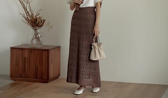 [低身長サイズ有]綿タッチアクリルニット透かし編みナロースカート