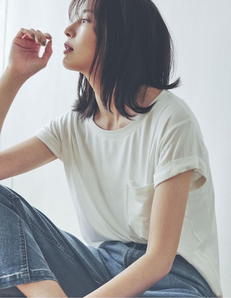 Re:EDIT‐リエディ [涼感][お家で洗える]オーバーサイズロールアップポケットTシャツ