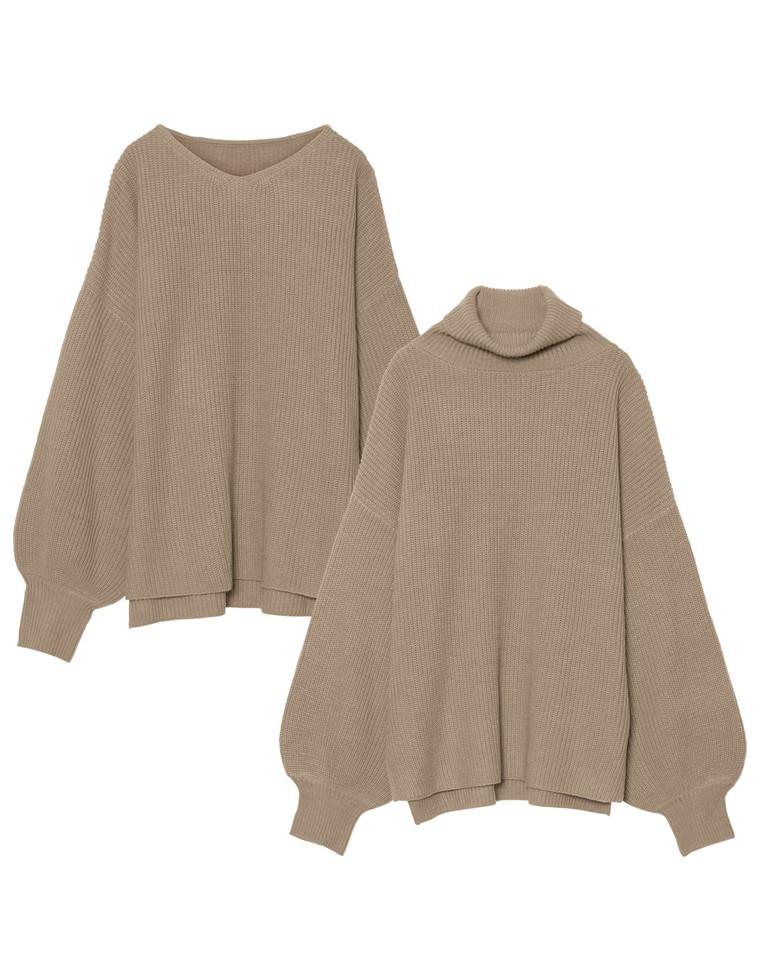 [星玲奈さん着用][お家で洗える]選べるVネックorタートルネックぽわん袖畦編みニットトップス