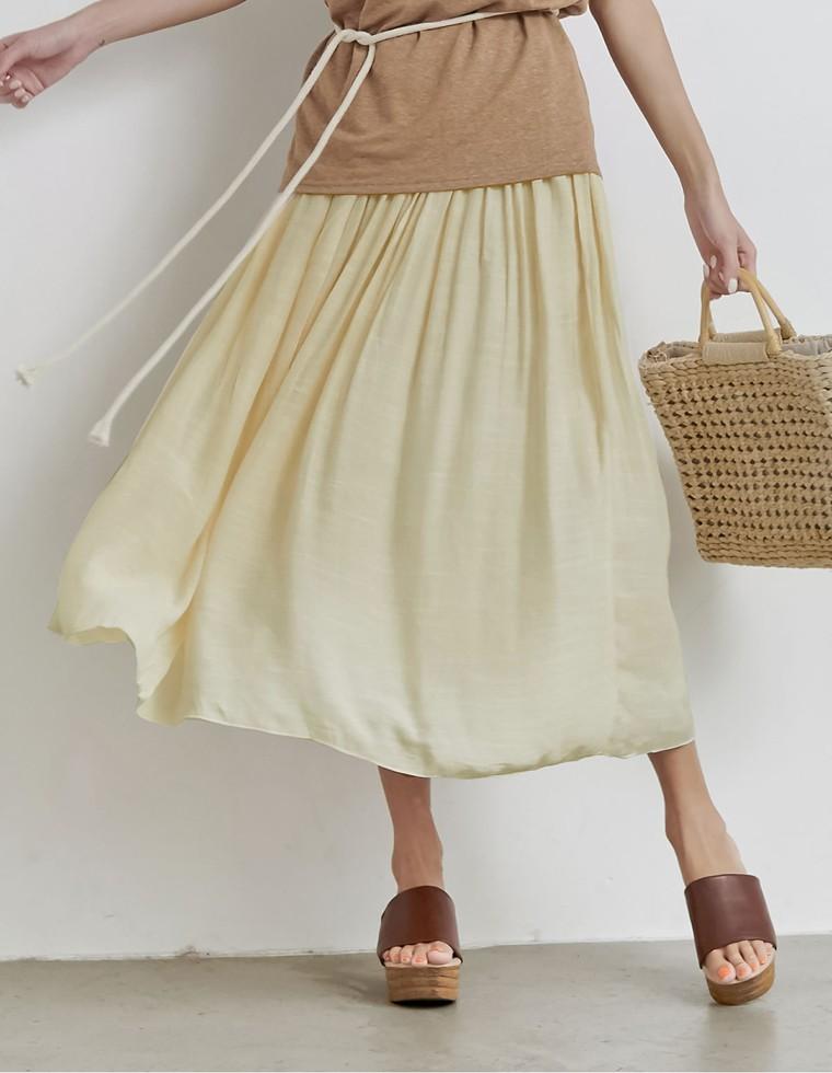 ロープ付き楊柳ロングフレアスカート