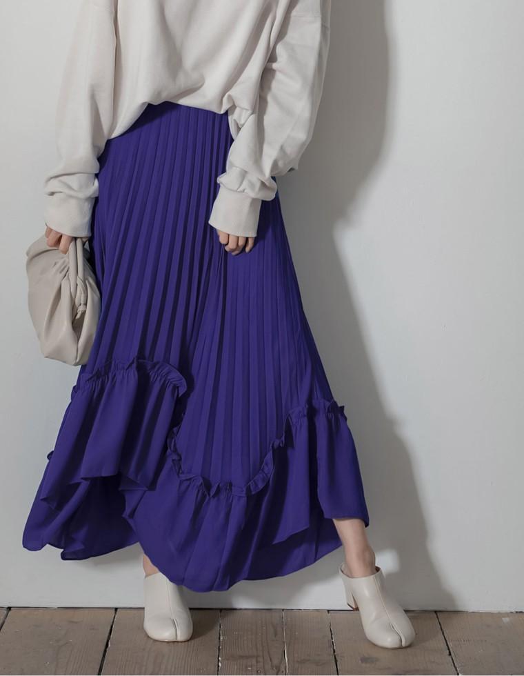[低身長向けSサイズ対応]シフォンプリーツイレヘムフレアスカート