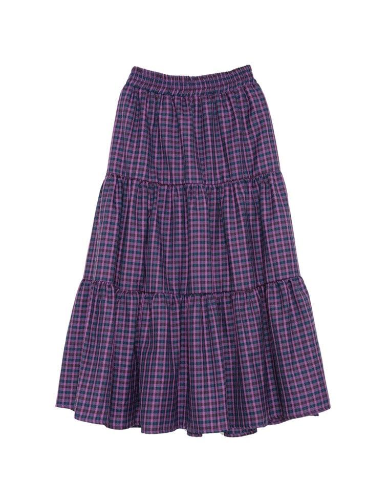 カラーチェック柄ティアードスカート