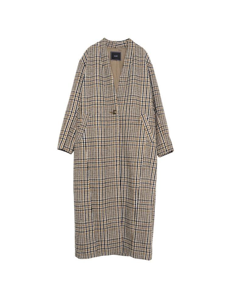ウール混ノーカラーチェック柄ロングコート