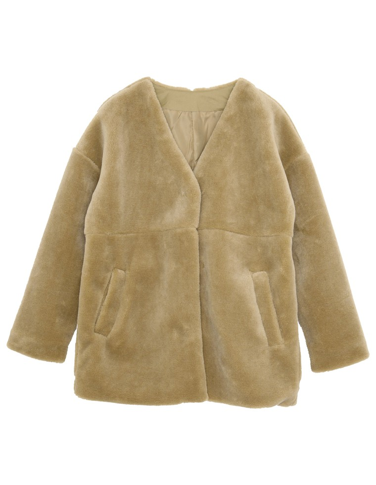 ノーカラーファージャケットコート