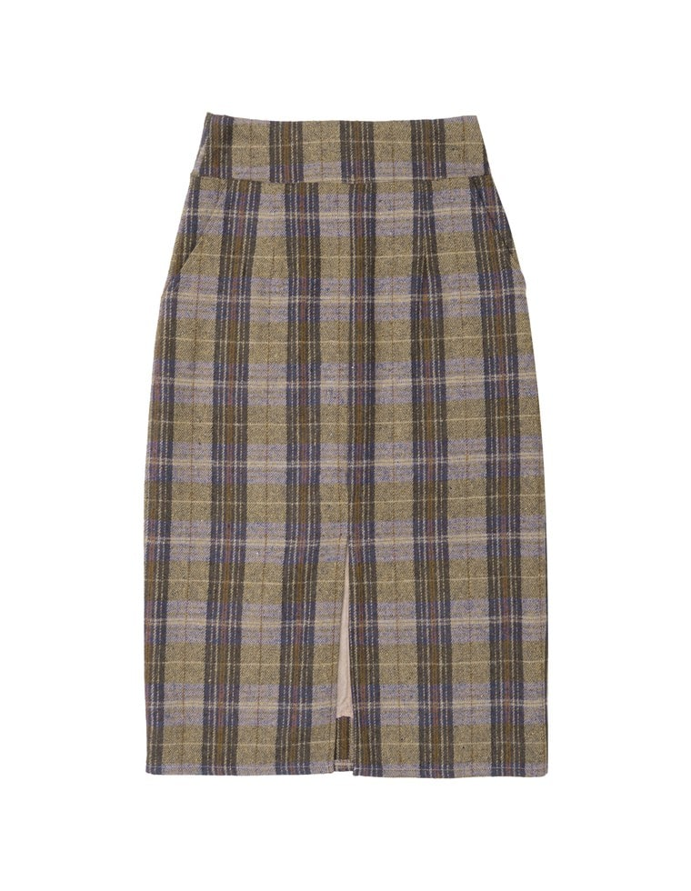 センタースリットチェック柄スカート