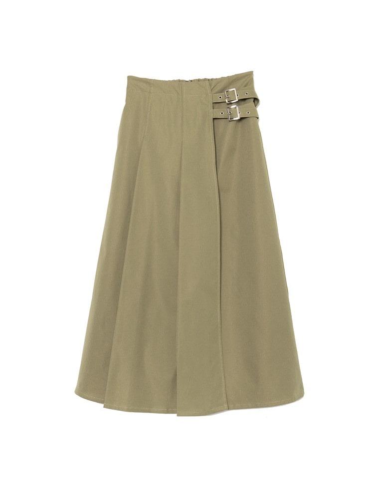 サイドベルトツイルラップ風フレアスカート