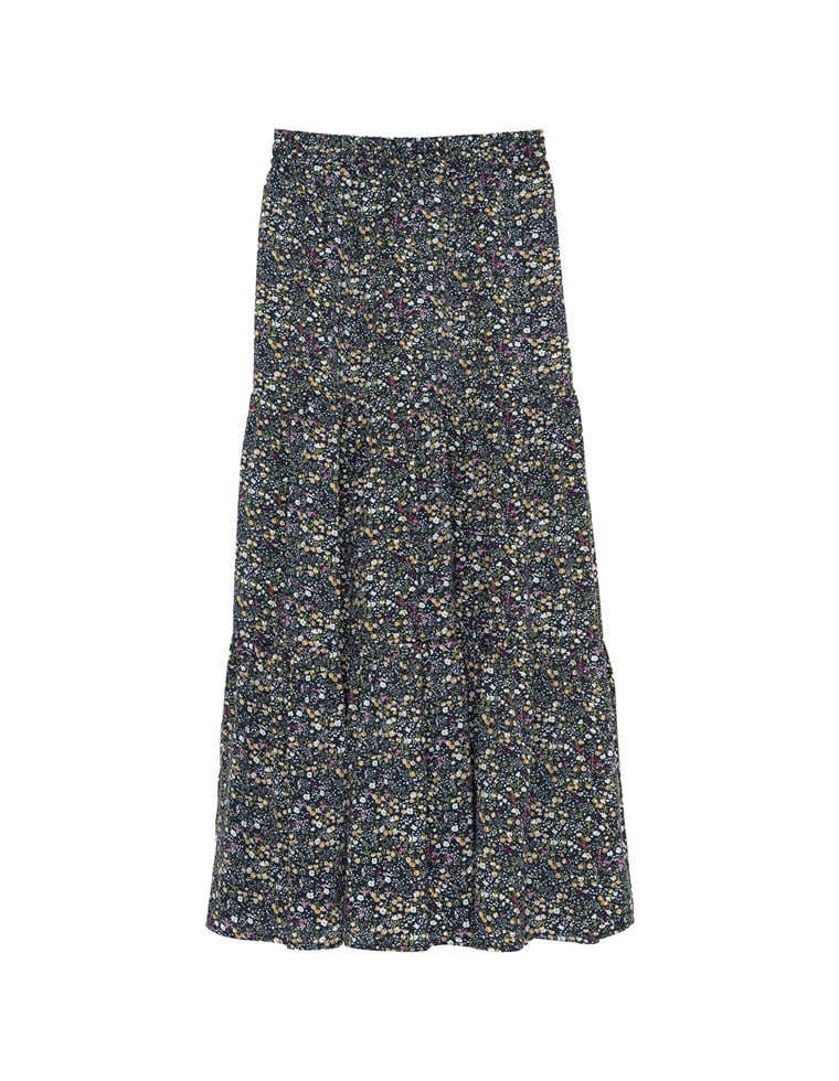 ヴィンテージサテン小花柄ティアードスカート