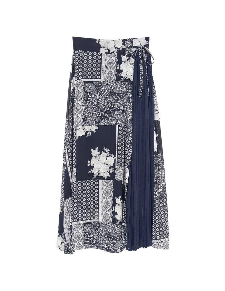 プリーツ切り替え花柄ラップ風スカート
