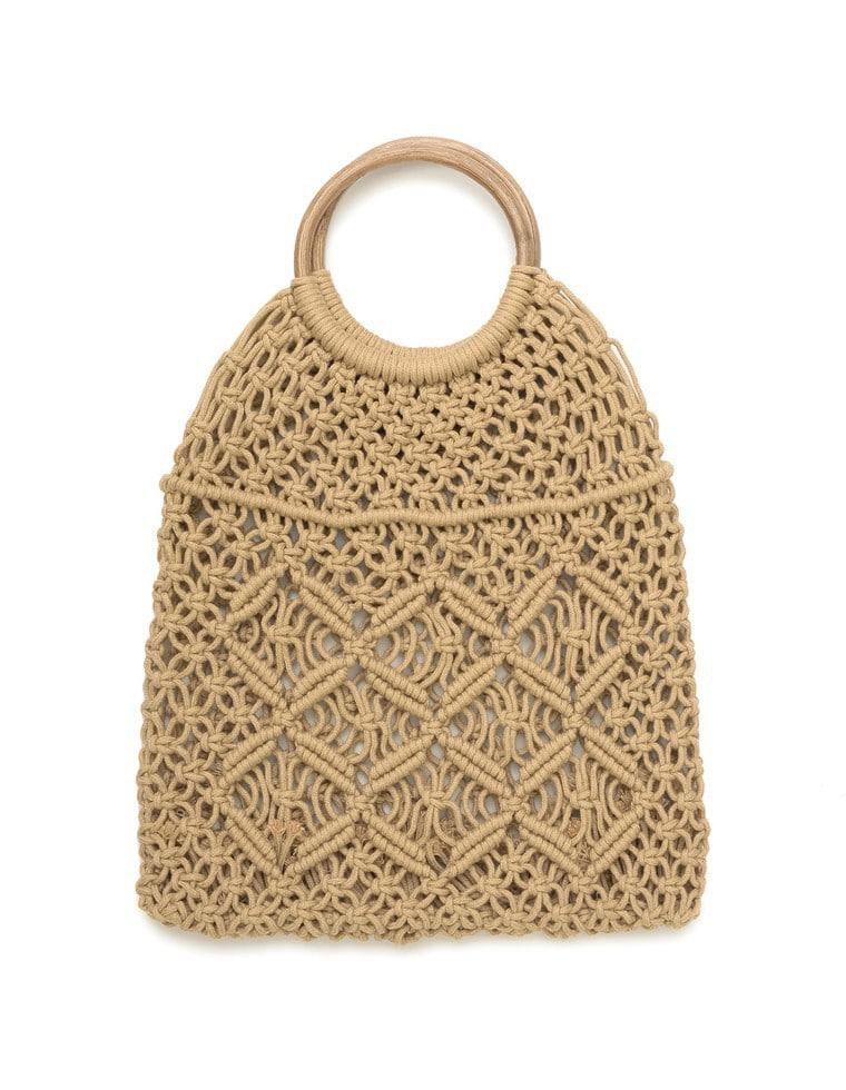 ウッドハンドルマクラメ編みバッグ