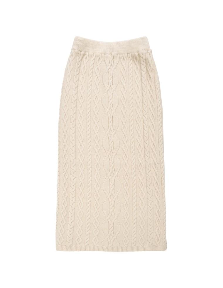 ロングケーブルニットタイトスカート