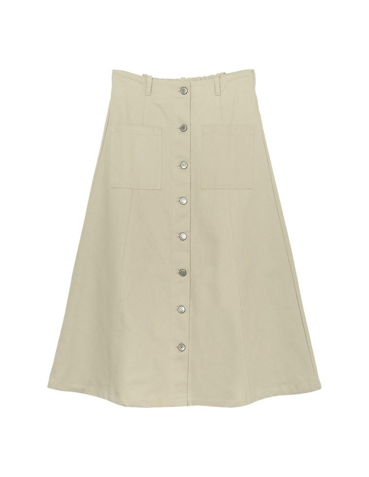 綿グログランフロントボタンフレアスカート
