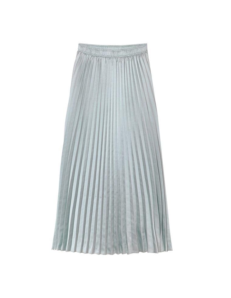 ミディアム丈サテンプリーツスカート