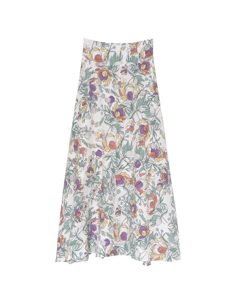 花柄ハイウエストロングフレアスカート