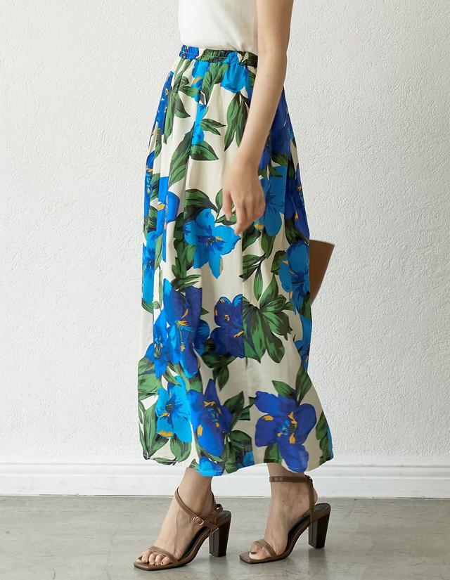 リゾート花柄ロングフレアスカート