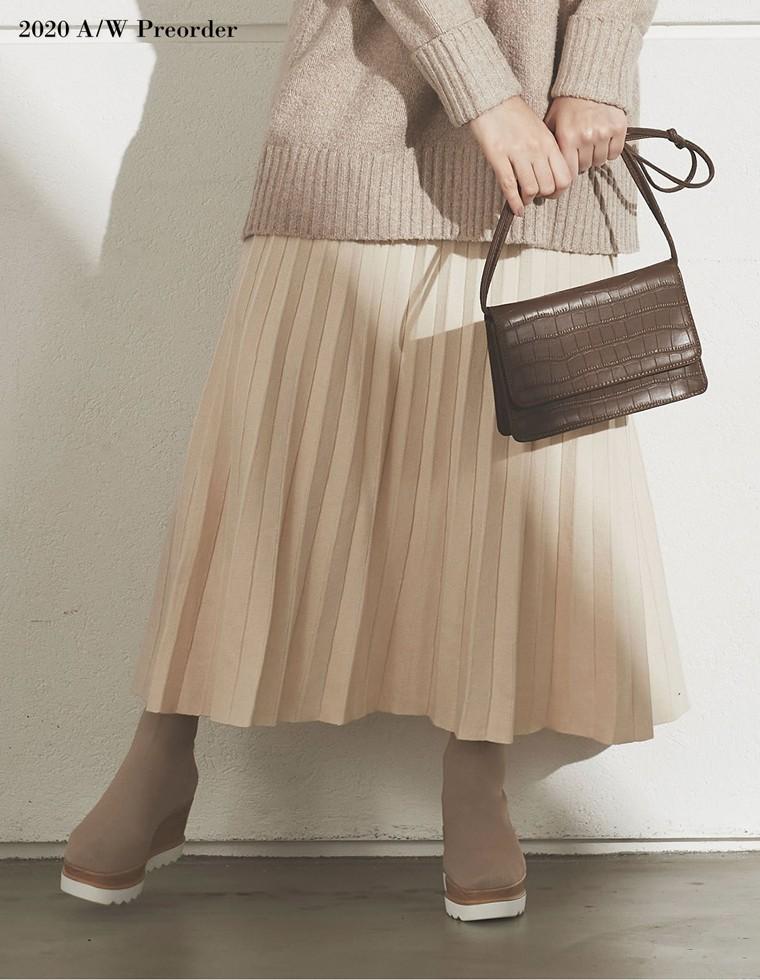 Re:EDIT‐リエディ [2020A/W PRE ORDER][低身長向けSサイズ対応]ソフトニットプリーツロングスカート