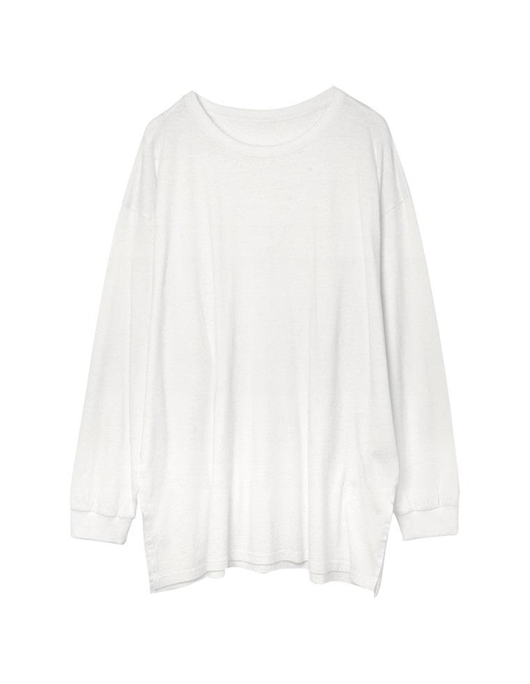 [お家で洗える]天竺ビッグシルエットロングTシャツ