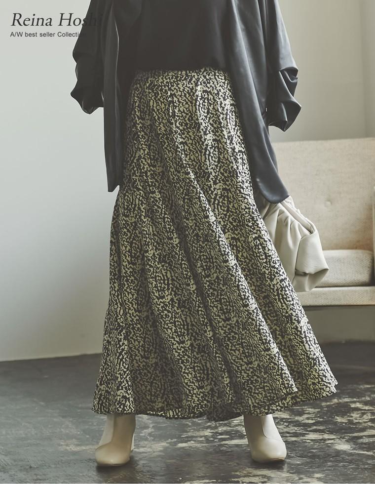 Re:EDIT‐リエディ [低身長向けSサイズ対応]総柄マキシ丈スイングフレアスカート
