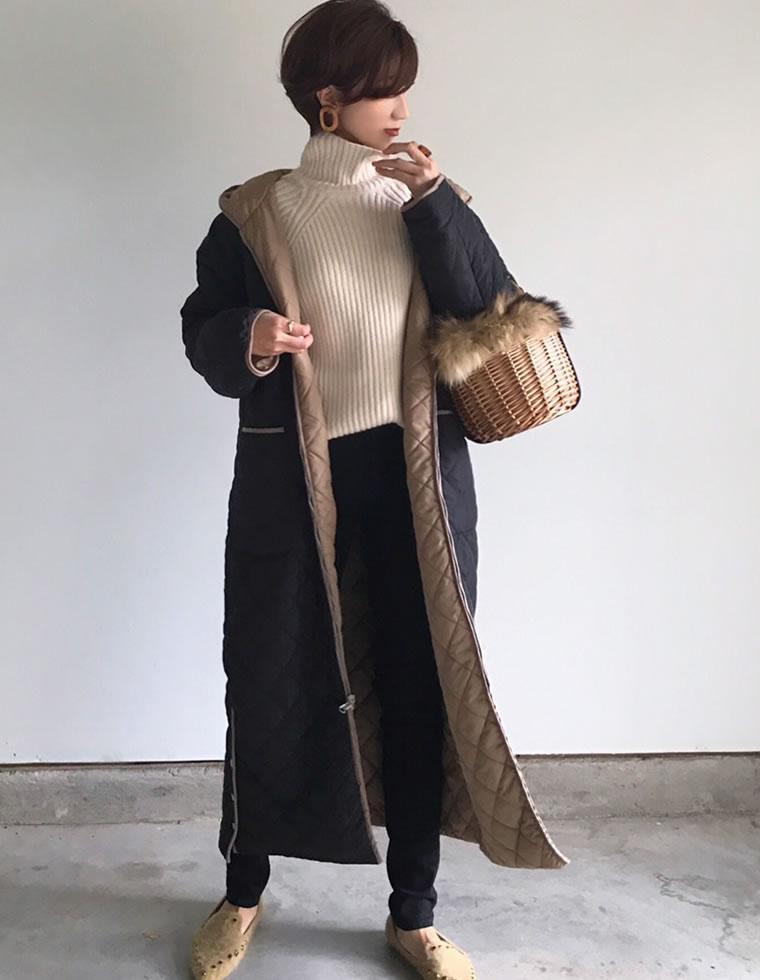[低身長向けSサイズ対応][高身長向けMサイズ対応]軽量中綿キルティングリバーシブルコート