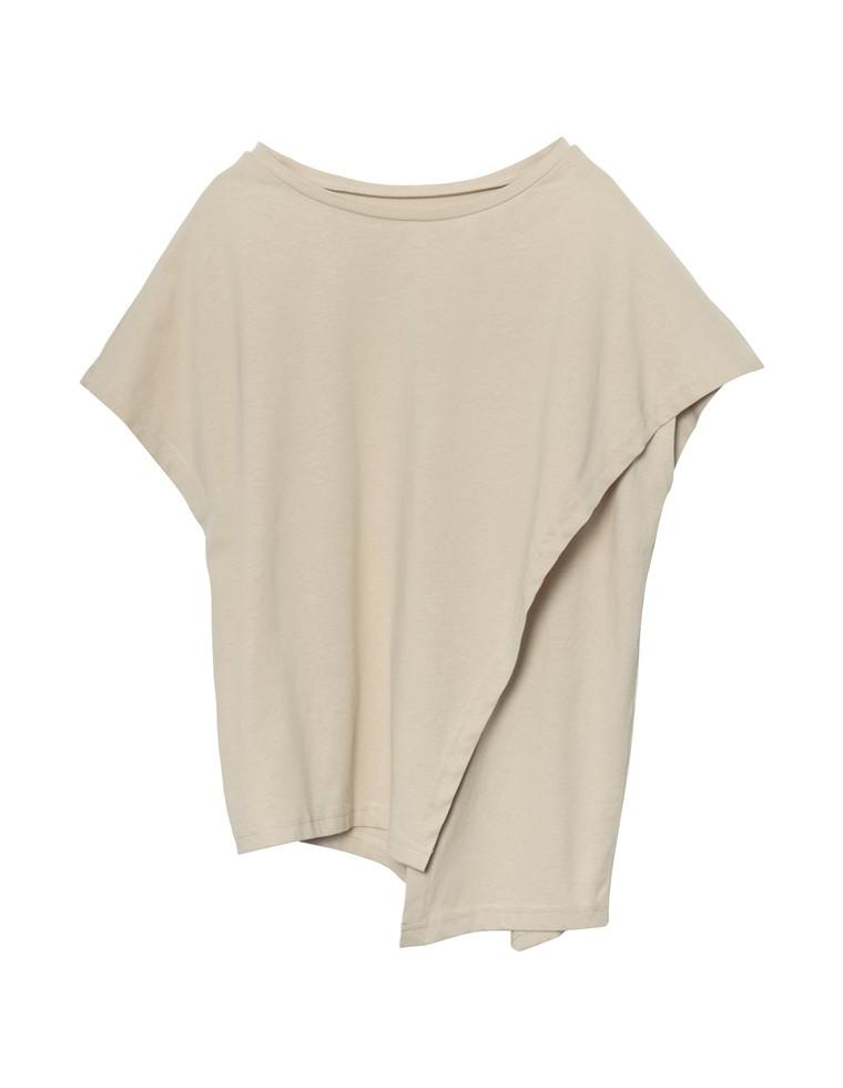 [人と地球にやさしい]裾アシメフロントスリットフレンチTシャツ