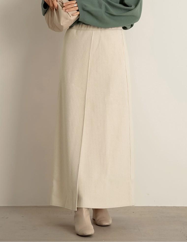 リブセミタイトラップ風スカート