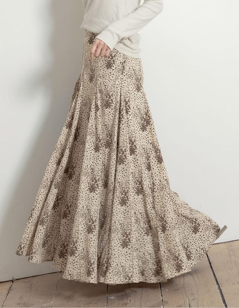Re:EDIT‐リエディ [低身長向けSサイズ対応]総柄フレアマキシスカート