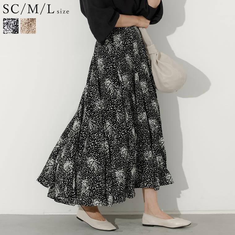 132650_[低身長向けSサイズ対応]総柄フレアマキシスカート