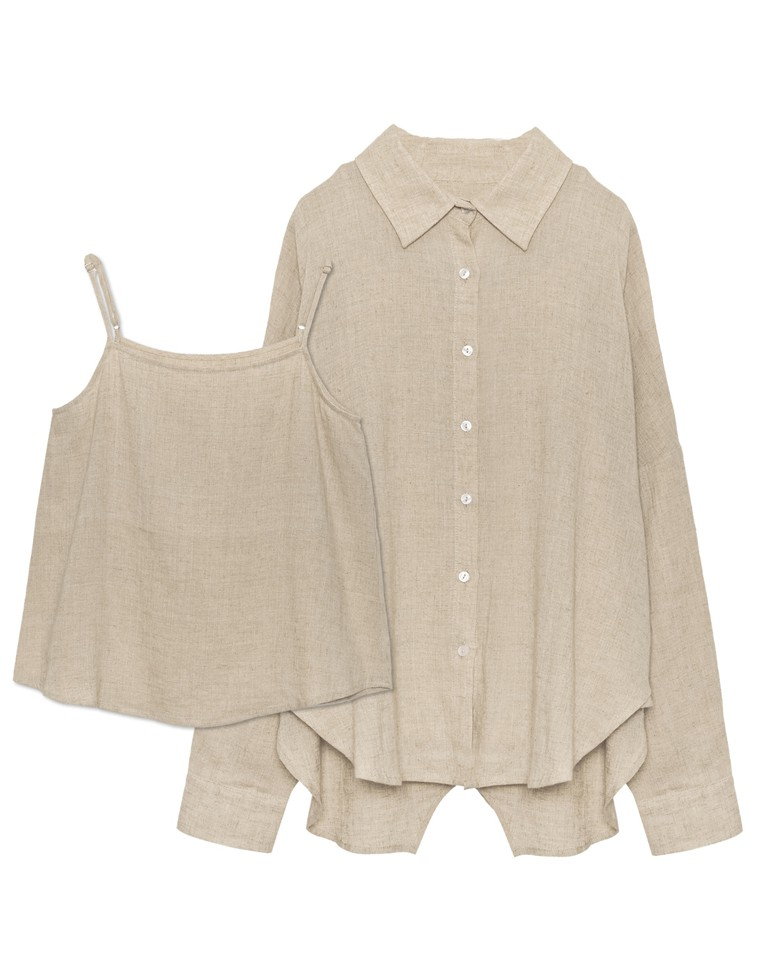 [HARUEさん着用][chi-syanさん着用]リネンブレンドシャツ&キャミソール