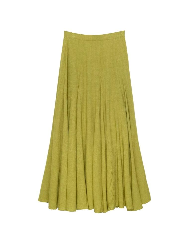 [chi-syan着用][yuricookieさん着用][涼感][低身長向けSサイズ対応]リネンブレンドマキシ丈スイングスカート