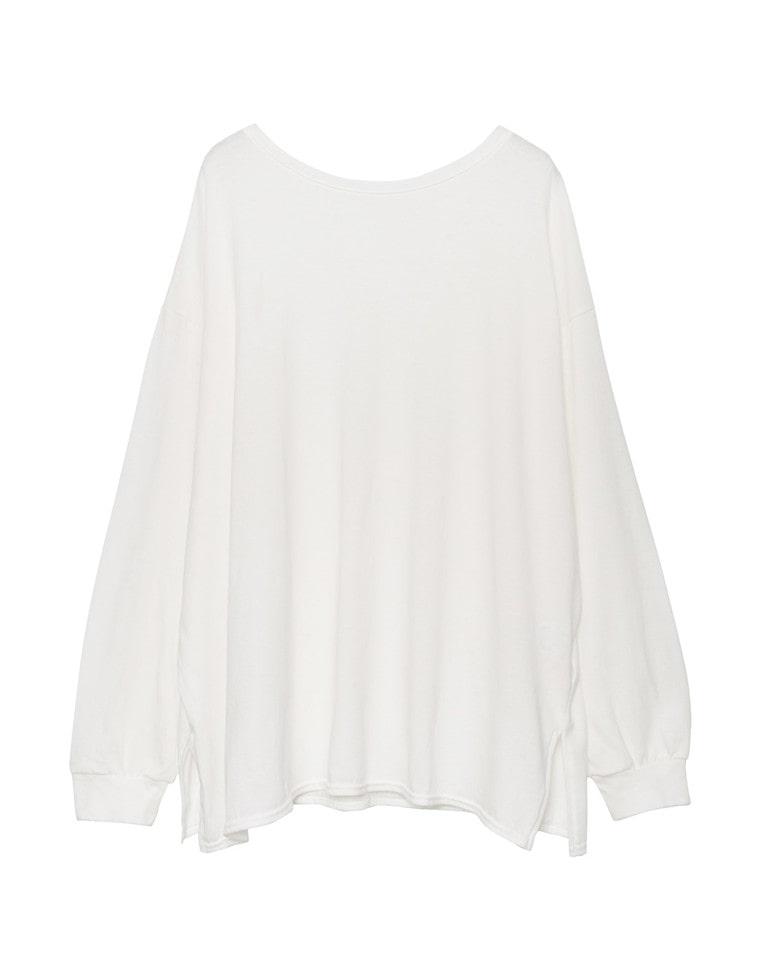 [日本製]コットンWフロントネックデザインTシャツ