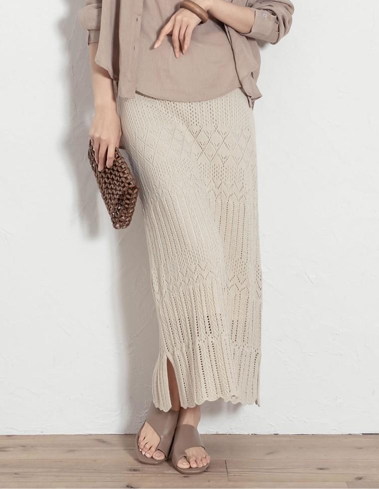 Re:EDIT‐リエディ [低身長向けSサイズ対応]かぎ編みニットスカート