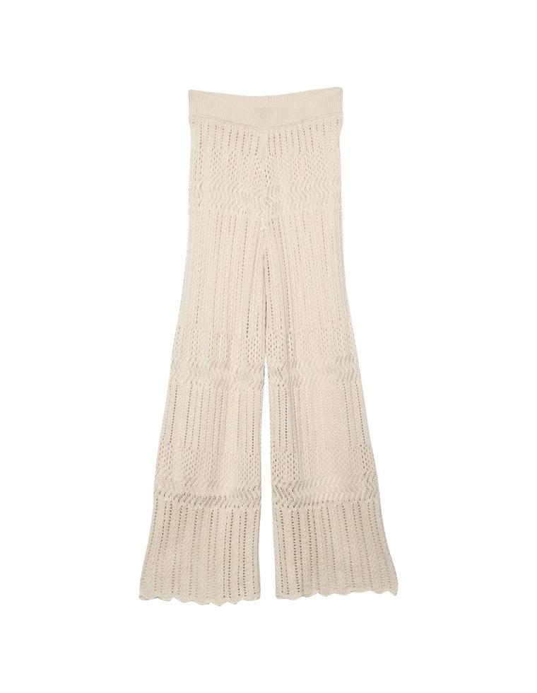 [低身長向けSサイズ対応]かぎ編みニットパンツ