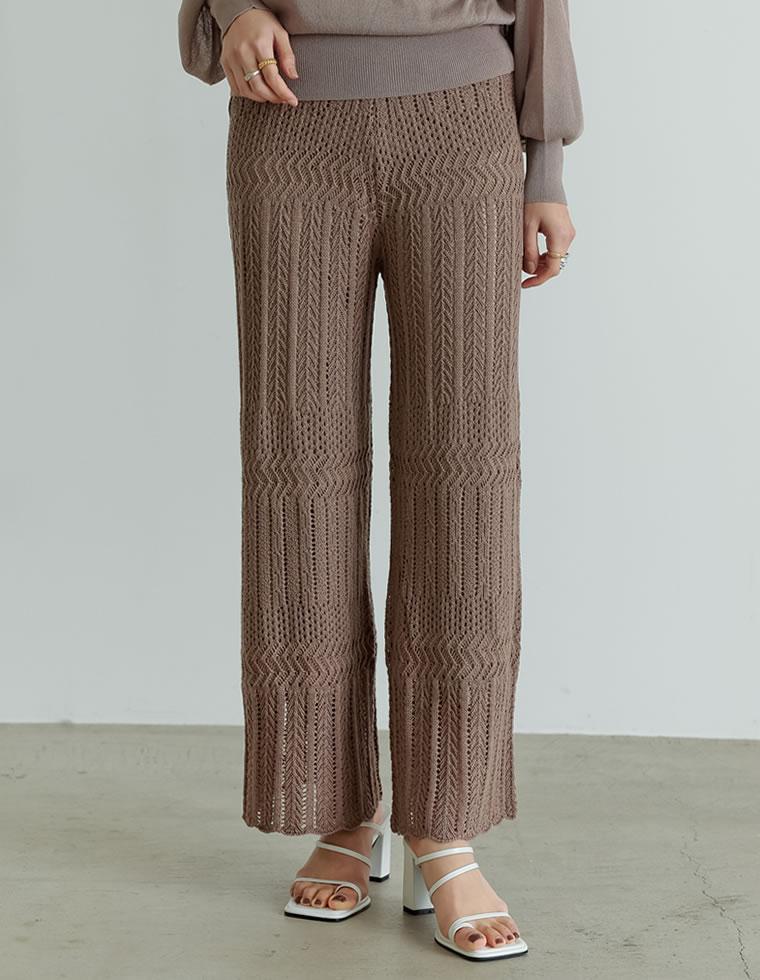 Re:EDIT‐リエディ [低身長向けSサイズ対応][お家で洗える]かぎ針編みニットパンツ