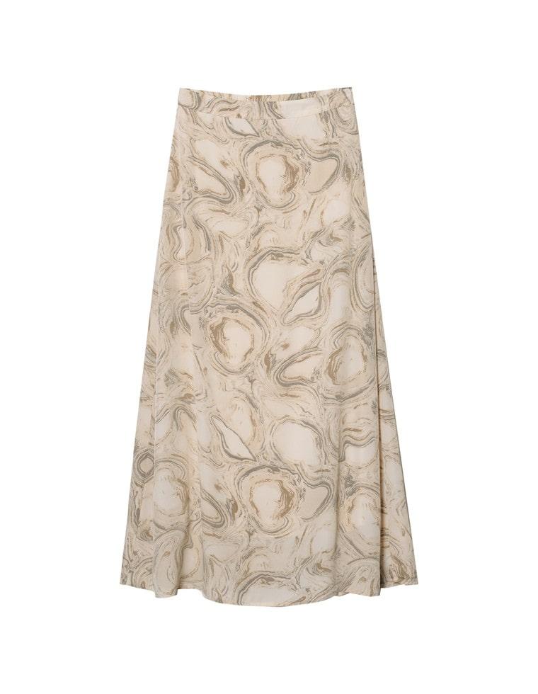 [お家で洗える][低身長向け/高身長向けサイズ対応]マーブル模様マキシ丈ナロースカート