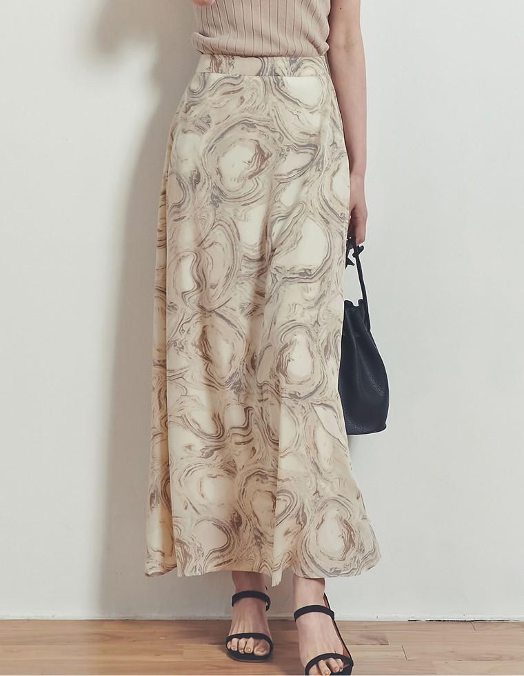 Re:EDIT‐リエディ [お家で洗える][低身長向けSサイズ対応][高身長向けMサイズ対応]マーブル模様マキシ丈ナロースカート